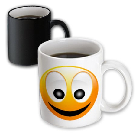 3dRose Smiley Face 1 a yellow and black happy face with a big smile and huge eyes, Magic Transforming Mug,