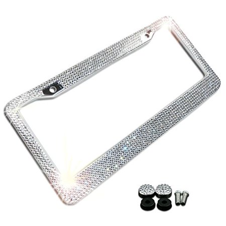 Zone Tech Shiny Bling License Plate Cover Frame - Crystal Bling Novelty/License Plate Frame with Mounting Screws