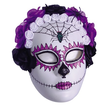 Day Of The Dead Purple Sugar Skull Adult Full Halloween - Half Sugar Skull Face Halloween