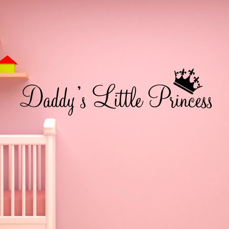 VWAQ Daddy's Little Princess Nursery Wall Decals Cute Baby Quote Vinyl Wall Art Quotes Nursery Baby Girl Room Decor Baby Nursery Wall Decals