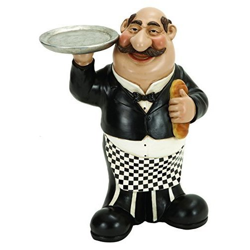 Benzara 69715 Polystone Waiter with Plate Invited to Dine