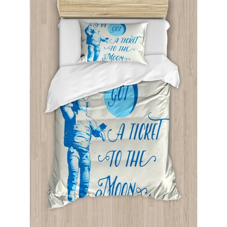 Astronaut Twin Size Duvet Cover Set, Ive Got a Ticket to the Moon Astronaut Galaxy Celestial Journey into Space, Decorative 2 Piece Bedding Set with 1 Pillow Sham, Pale Blue White, by Ambesonne