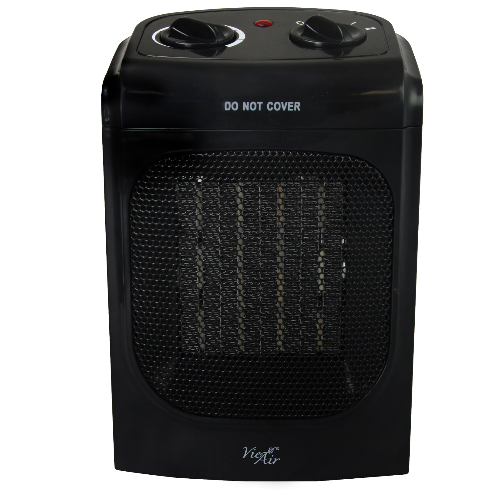 Vie Air 1500W Portable 2-Settings Home Black Ceramic Heater with Adjustable Thermostat