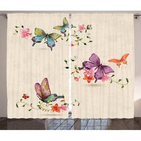 Apartment Decor Curtains 2 Panels Set, Butterfly Collection On Vintage  Background Spiritual Wings Moth Transformation Symbol Print, Living Room ...