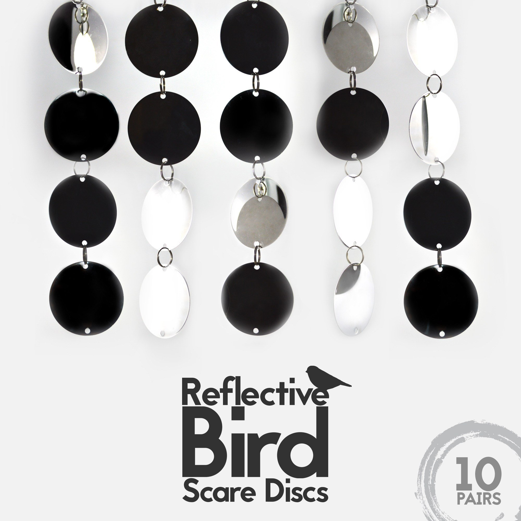 Bird Repellent Discs (10-PC with 20 Large Disks) - Highly Reflective Double-Sided Bird Deterrent Discs to Keep All Birds Away