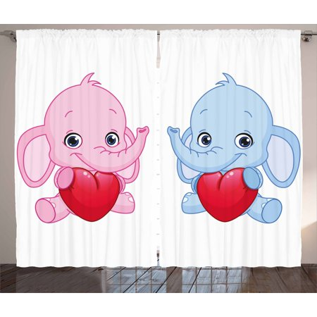 Elephant Nursery Decor Curtains 2 Panels Set Pink And Blue Kid Infant Elephants Holding Hearts Smiling Twins Window Drapes For Living Room Bedroom