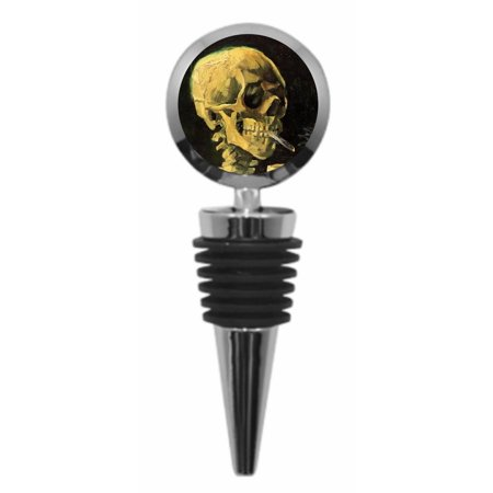 Artist Vincent Van Gogh's Skull of a Skeleton with a Burning Cigarette Painting Metal Wine Bottle Stopper - Round Shaped - Decorating With Skeletons