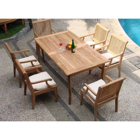table and 6 sack arm chairs outdoor patio grade a teak wood