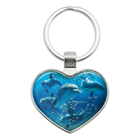 Miami Dolphins Heart Tag (Dolphins Pod Underwater Diving Ocean Heart Love Metal Keychain Key Chain)