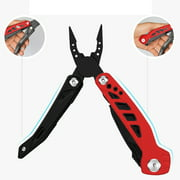 FeelGlad Multitool Pliers, 14 IN 1 Stainless Steel Folding Pocket Knife Kit with Durable Nylon Sheath for Survival, Camping, Hiking, Hunting, Fishing(Red and Black)