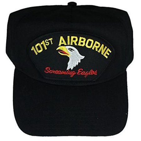 101st AIRBORNE DIVISION VETERAN HAT with SCREAMING EAGLES and 101ST AIRBORNE crest cap - BLACK - Veteran Owned Business Black Screamin Eagle