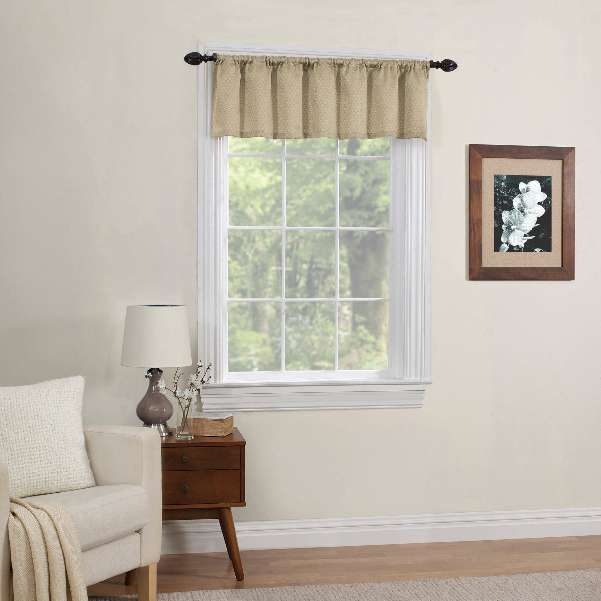 Mainstays Diamond Room Darkening Kitchen Window Valance, Multiple Colors