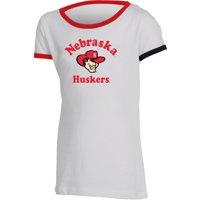 Girls Youth Russell Athletic White Nebraska Cornhuskers Ringer T-Shirt