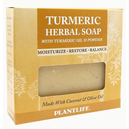 Plantlife Turmeric Soap- 100% Natural Soap, Vegan, Handmade with Coconut and Olive Oil, With Turmeric Herb and Turmeric Essential Oil, Excellent For Face, Body and Hands-4.5 oz (127g) Olive French Soap