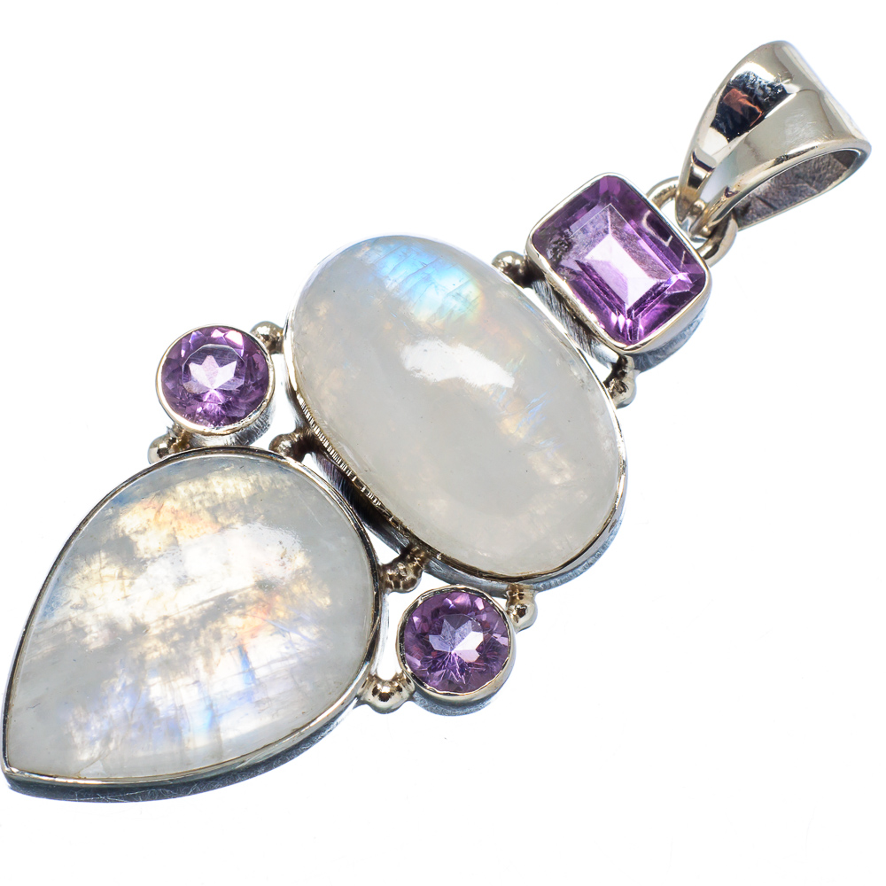 """Ana Silver Co Rainbow Moonstone, Amethyst 925 Sterling Silver Pendant 2"""" PD579612"""