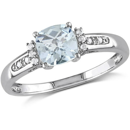 Aquamarine Trillion Ring (4/5 Carat T.G.W Aquamarine and Diamond-Accent Sterling Silver Ring )
