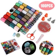 100Pcs Mini Sewing Thread Kit, Colorful Sewing Supplies for Home Travel DIY Craft, With 64 Thread Spools, 30 Assorted Needles, Sewing Thimble, Threaders, Small Sewing Trimming Scissor and Tape Measure