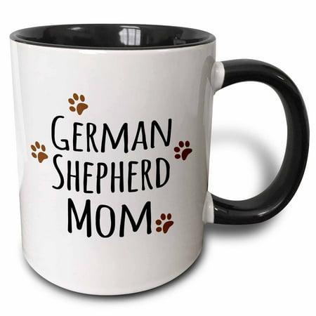 3dRose German Shepherd Dog Mom - Alsatian - Doggie by breed - brown muddy paw prints - doggy lover mama, Two Tone Black Mug, 11oz