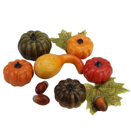 11-PC Autumn Harvest Artificial Pumpkin, Gourd, Acorn and Leaf Decoration Set - Halloween Gourd Decorating Ideas