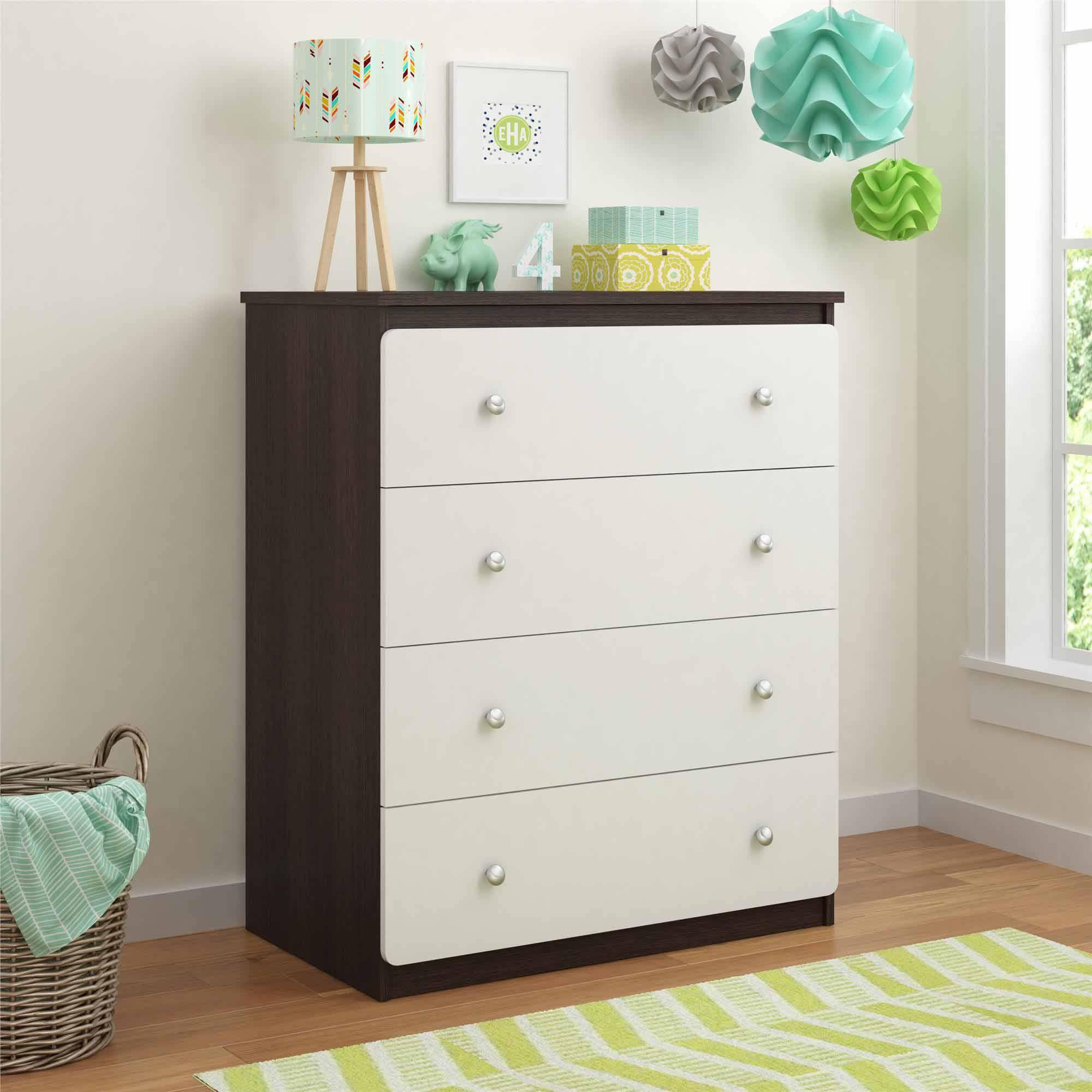 Cosco Willow Lake 4-Drawer Dresser, Coffee House Plank/White
