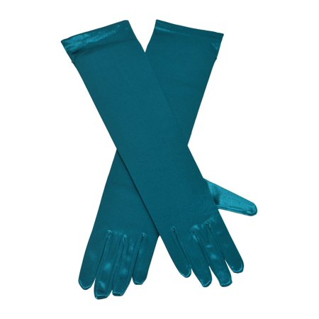 Girls Adult Multi Color Satin Elbow Length Special Occasion Gloves thumbnail