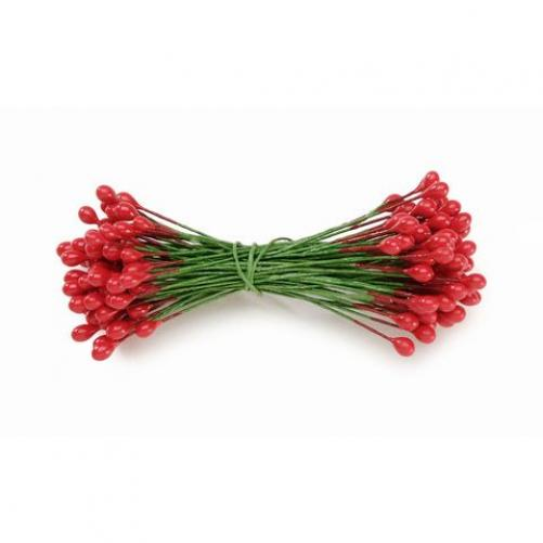 Holly Berries on Wire Stems - Red - 1/4 Inch - 144 Pieces