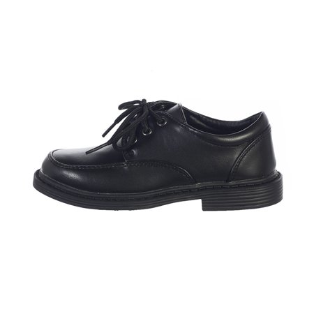 Toddler Boys Black Lace Up Matte Special Occasion Dress Shoes (Dress Up Shoes For 7 Year Olds)