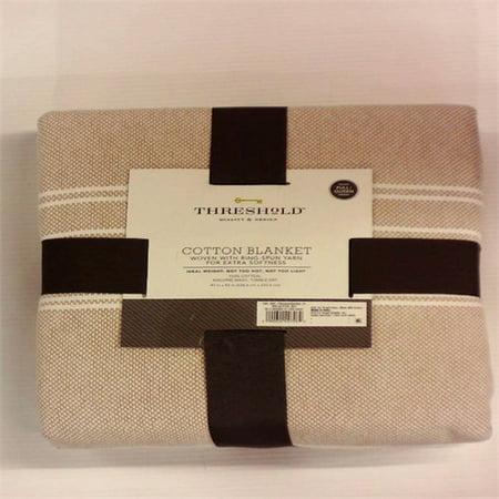 Full/Queen Yarn Dye Stripe Ringspun Cotton Bed Blanket Brown Linen - Threshold™