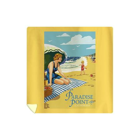 Paradise Point, California - Woman on Beach - Lantern Press Artwork (88x88 Queen Microfiber Duvet Cover)