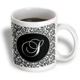 3dRose Letter S - Black and White Damask, Ceramic Mug, 11-ounce