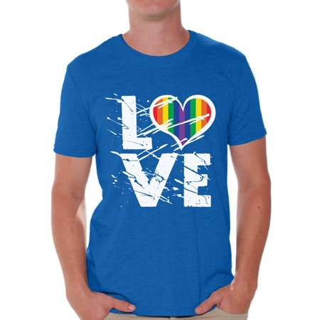 Awkward Styles Men's Love Graphic T-shirt Tops Love Rainbow Heart Graphic T-shirt Tops LGBTQ Pride