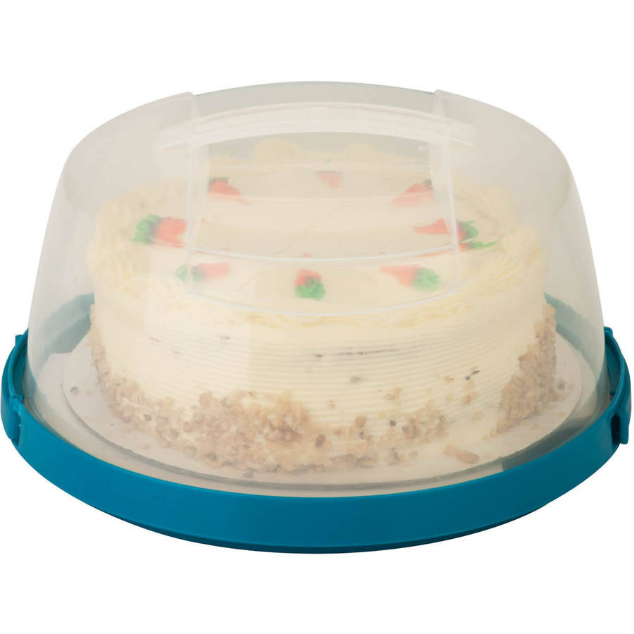 "Honey Can Do 10"" Round Cake Storage Carrier with Clear View Lid, Clear/Blue"