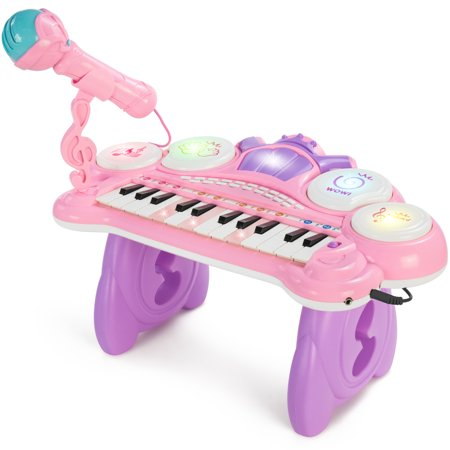 Best Choice Products Kids 24-Key Electronic Keyboard w/ Lights, Mic, MP3, and Teaching Mode, Pink ()