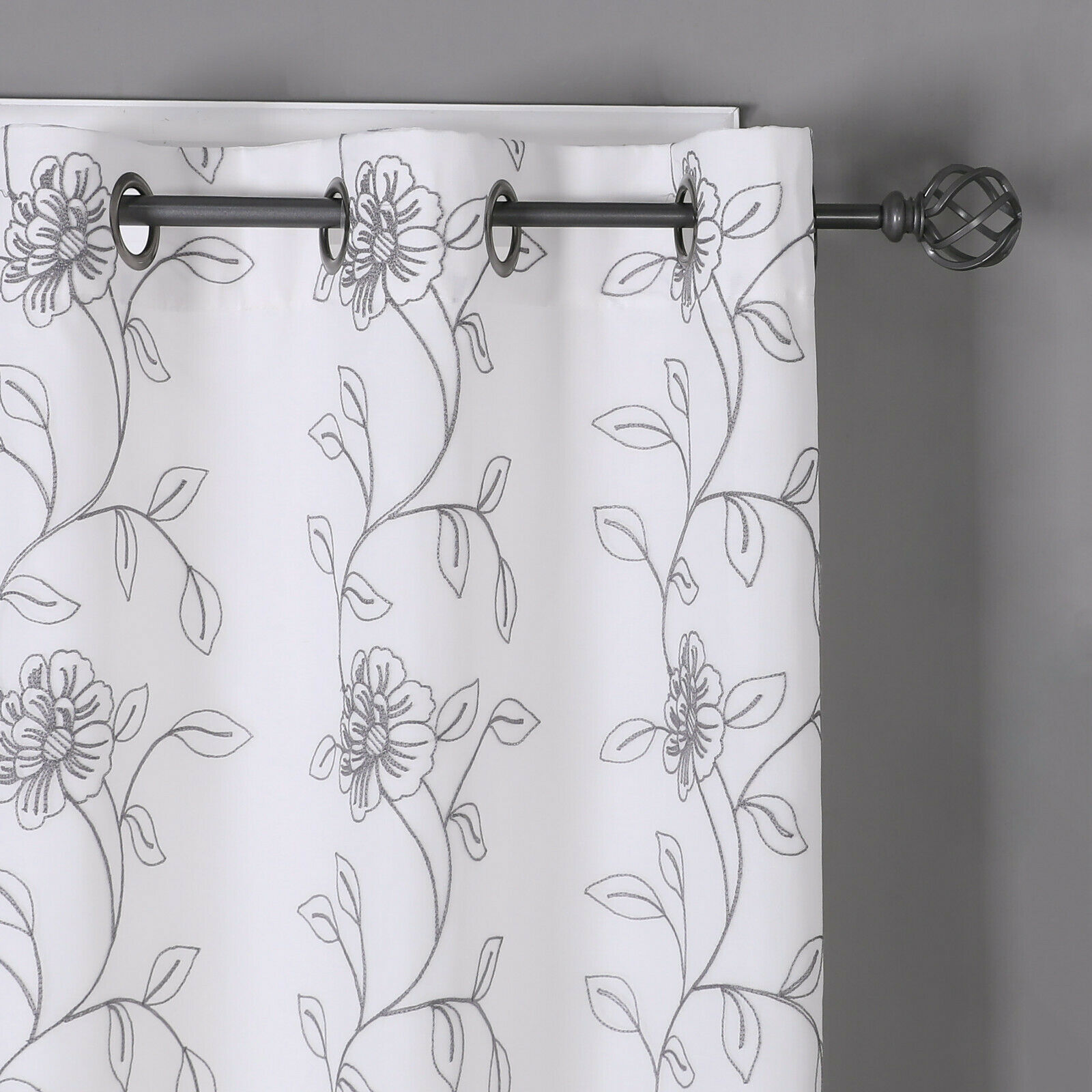 Kate Aurora Floral Embroidered Double Layered Sheer Grommet Curtains Gray Walmart Com Walmart Com
