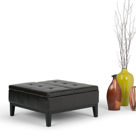 Brooklyn Coffee Table Set - Brooklyn + Max Sea Mills Square Coffee Table Ottoman with Split Lift Up Lid