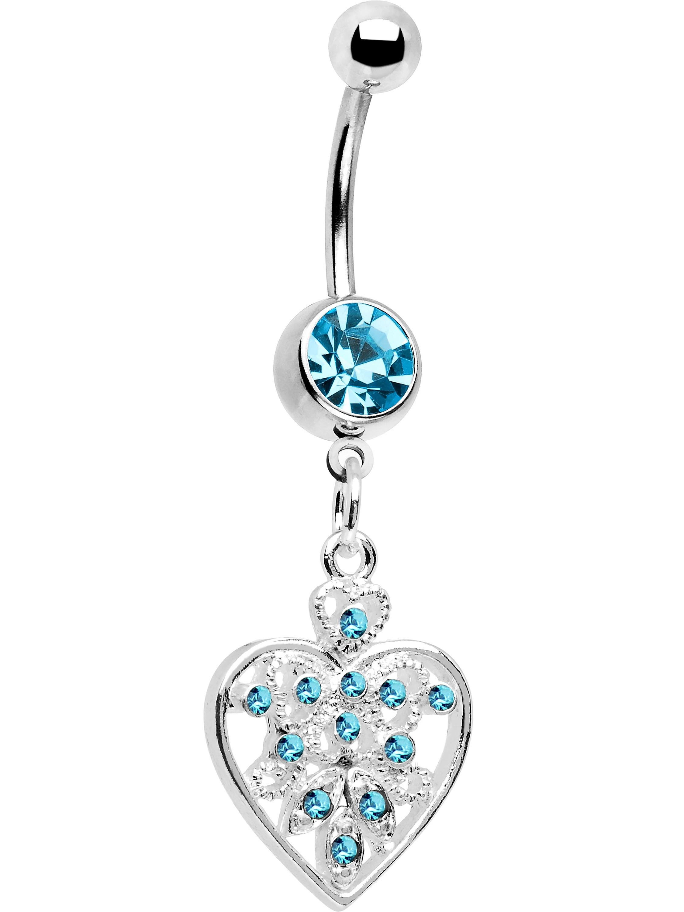 Light Blue Accent Fill My Heart Belly Ring