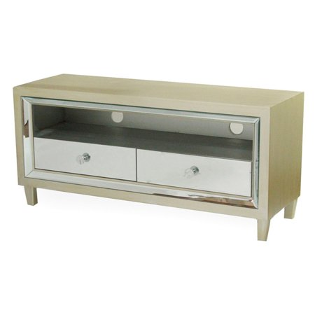 Heather Ann Creations Avery 2 Drawer Mirrored TV Stand (Mirrored Crystal Ball Stand)