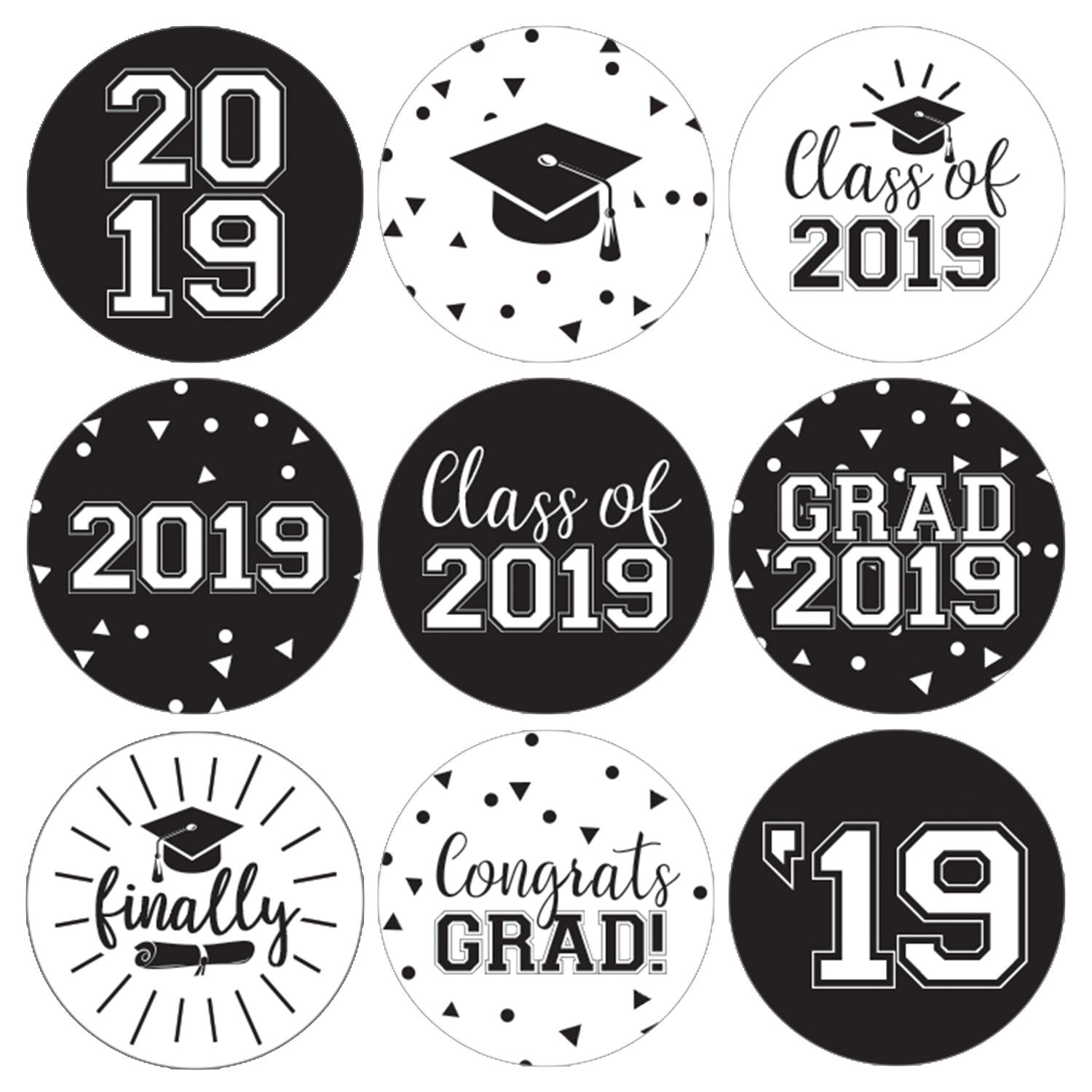 Black and White Graduation Party Stickers   216ct   Class of 2019 Favor Labels