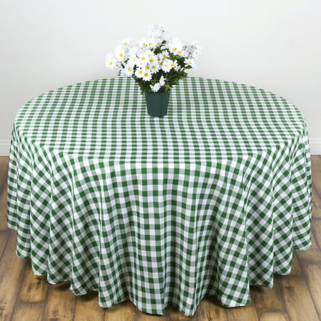 Balsacircle 108 Round Gingham Checkered Polyester Tablecloth For