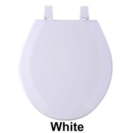 Park Avenue Collection Fantasia 17 Inch White Standard Wood Toilet Seat