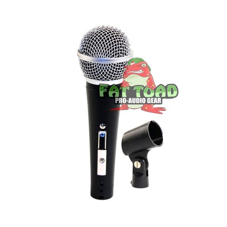 Cardioid Dynamic Microphone with Mic Clip by Fat Toad  Vocal Handheld, Unidirectional Mic   Singing Microphone Designed for Music Stage Performances & Studio Recording or PA DJ Karaoke ()