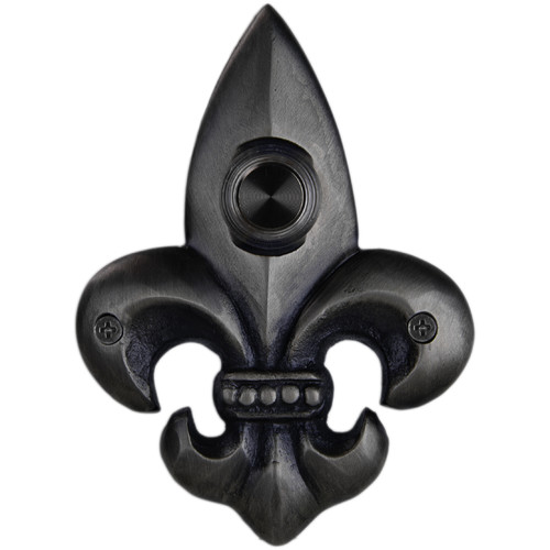 Waterwood Hardware Fleur De Lis Brass Small Doorbell