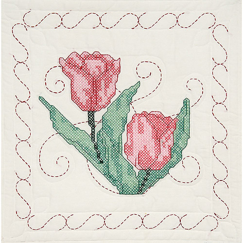 "Fairway Needlecraft Tulips Stamped Quilt Blocks, 18"" x 18"""