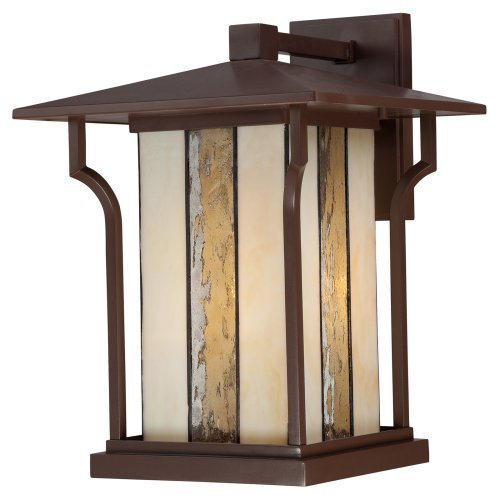 Quoizel Lighting Langston - One Light Outdoor Wall Mount, Chocolate Bronze Finish with Clear Water Seedy Glass