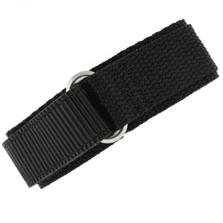 Watch Band Nylon One Piece Wrap Sport Strap Black Adjustable Velcro - 20mm