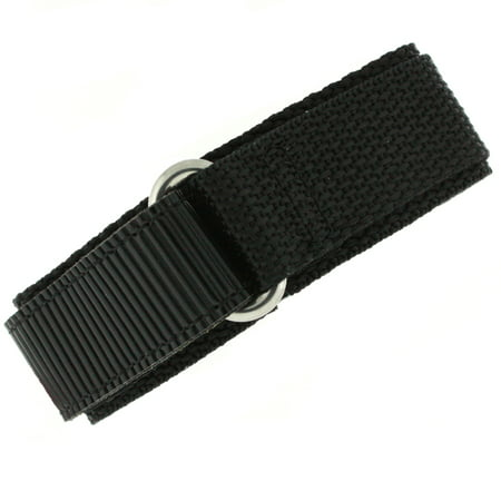 Watch Band Nylon One Piece Wrap Sport Strap Black Adjustable Velcro - 22mm