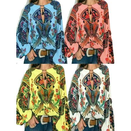Plus Size Women Floral V-Neck Long Lantern Sleeve Oversize Blouse T Shirt Top Lantern Sleeve V-neck Top