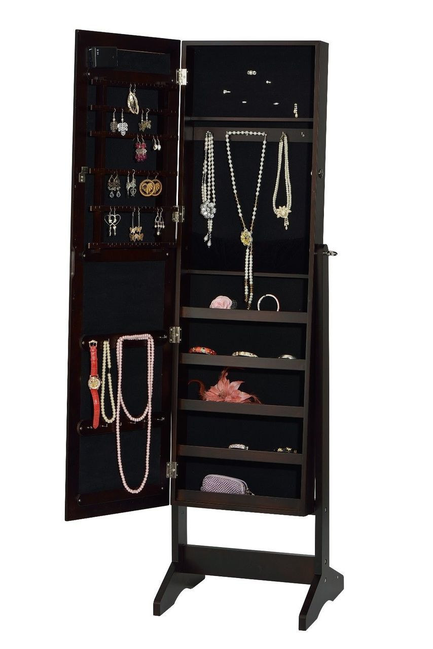 ViscoLogic Freestanding Mirrored Jewelry Cabinet Armoire ...