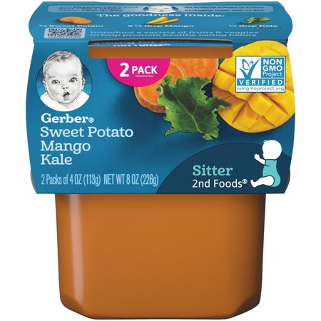 Gerber 2nd Food Sweet Potato, Mango & Kale Tubs, 4 Oz., 2 Count