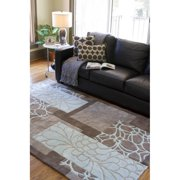 Hand-tufted Retro Chic Grey Floral Squares Area Rug (8' x 11')